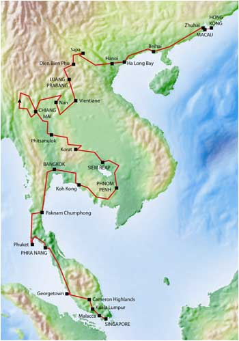 Singapore To Macau Provisional Route